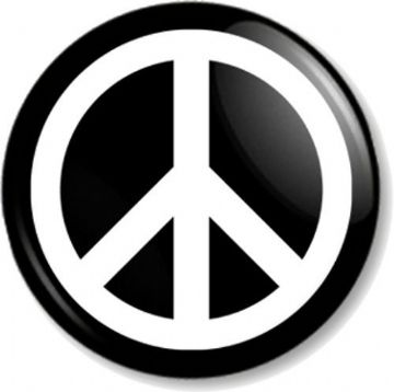 Peace Sign Pinback Button Badge Pacifist Ban the Bomb Symbol Hippie Love - White on Black
